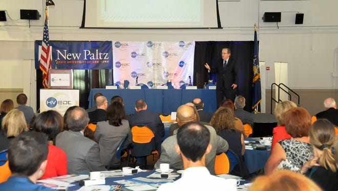 Paul Harrington of Drexel University addresses a packed room of more than 200 at SUNY New Paltz for HVEDC's second annual State of the Hudson Valley Economy.