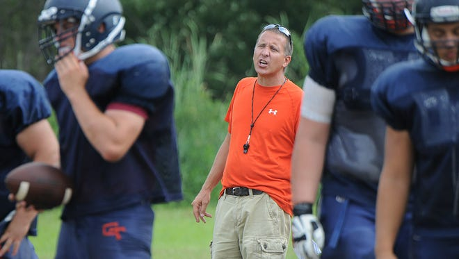 Chris Hawkins coaches the Galion Tigers during practice.