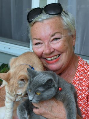 Carol Mason, who was recently homeless after Hurricane Irma damaged her mobile home, is now staying  with a kind family in Central Brevard who offered here a place to stay with her cats Honey, at left, and Shandi, and Carol will eventually be looking for a place to call her own.