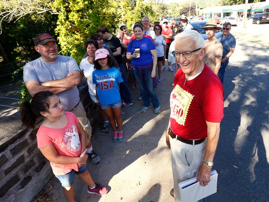 As part of Boonton's 150th Celebration Weekend, local historian, 90-year-old Lloyd Charlton leads a Historic Walking Tour. September 23, 2017, Boonton, NJ