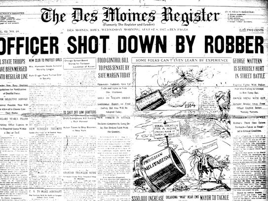The Des Moines Register front page from August 1917