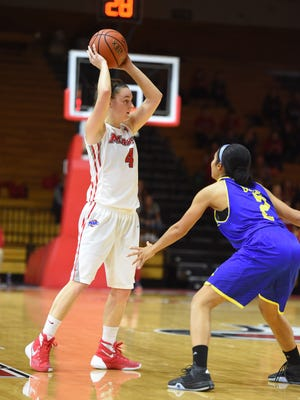 Marist College guard Allie Clement looks to pass during a Nov. 19, 2015 contest against Delaware at McCann Arena.