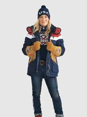 Women's Opening Ceremony uniform for Pyeongchang 2018 Winter Olympics in Korea, by Ralph Lauren.