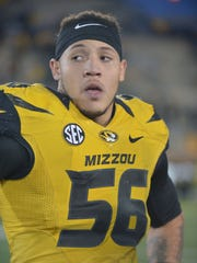 Missouri defensive end Shane Ray (56) was selected as the SEC Defensive Player of the Year by the Associated Press.