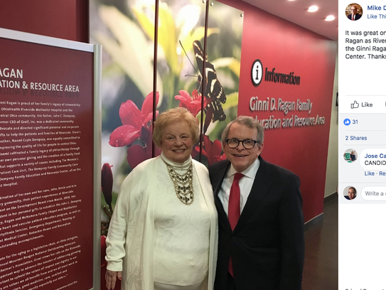 A picture of Virginia Ragan and Mike DeWine posted