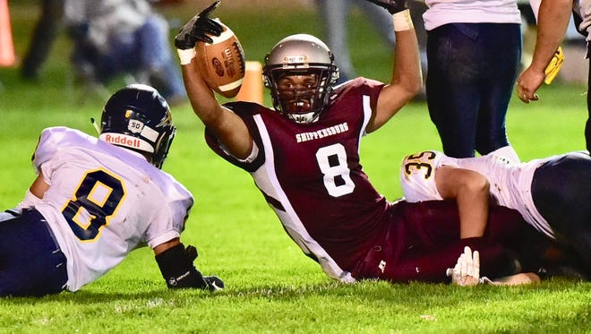 Shippensburg's Adam Houser scores a first quarter touchdown for the Greyhounds.