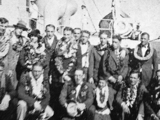 Players on coach Harry Hughes' 1925 Colorado Agricultural College football team spent 10 days on the S.S. Manoa traveling through a storm from San Francisco to Honolulu.