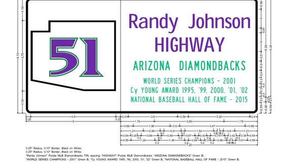 A rendering of a proposed Randy Johnson highway sign