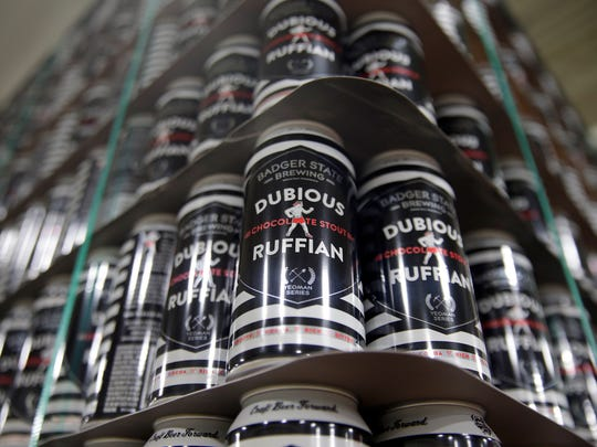 Badger State Brewing puts its chocolate stout Dubious Ruffian in cans. Badger State prefers the flexibility of cans instead of bottles.