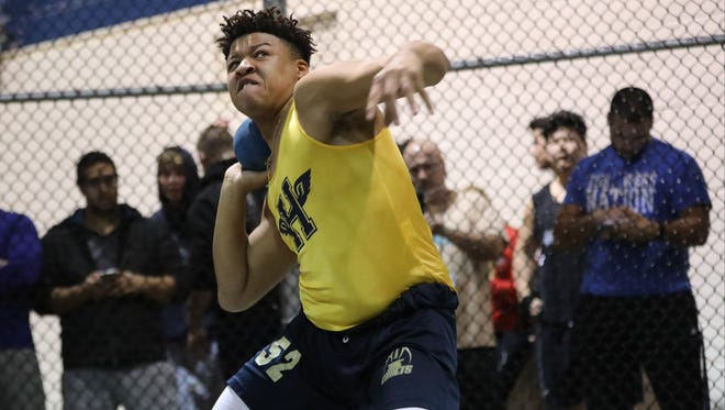 Charles Jackson of Hackensack throws the shot put at theBergen County Indoor Track Relays at The Armory in New York City. Wednesday, January 25, 2017.