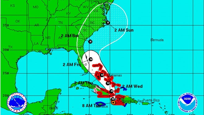 The Oct. 4, 7 a.m. CDT forecast path for Hurricane Matthew.