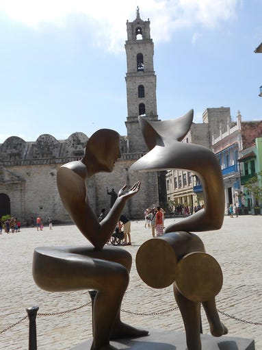 Modern sculptures have been placed in some of the larger