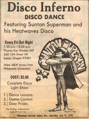 Disco Inferno ad from the Statesman Journal 1978.
