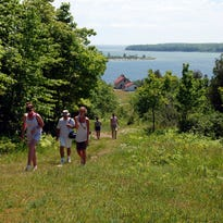 The 4.5-mile Lakeshore Trail gives hikers a gander at the Apostle Islands.