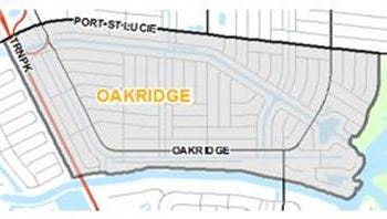 The pilot neighborhood tentatively has been called Oakridge. It is east of Florida's Turnpike, south of Port St. Lucie Boulevard, west of the St. Lucie River and north of the C-24 canal.