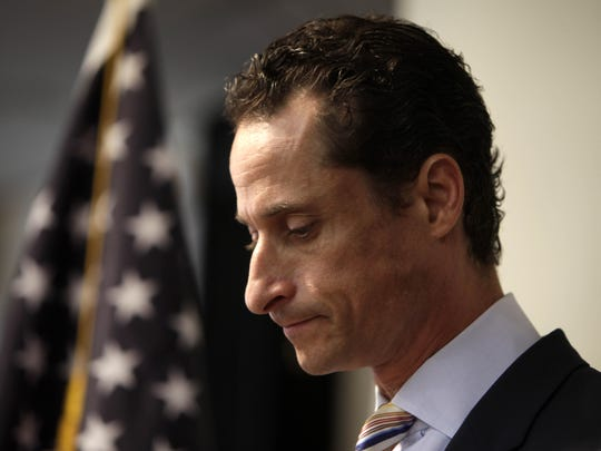 Anthony Weiner announces his resignation from Congress during a news conference in Brooklyn in June 2011.
