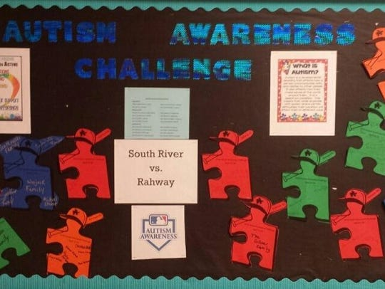 Autism Awareness Challenge bulletin board at South