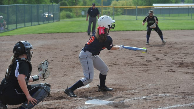Maddy Harmon bunts in the district semifinal against Clear Fork