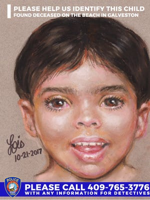 Galveston Police Department released a sketch of  missing boy whose body was found on the beach Oct. 20, 2017. The sketch is by forensic artist Lois Gibson.