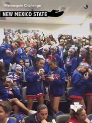 Cheerleaders from Las Cruces High School and Mayfield