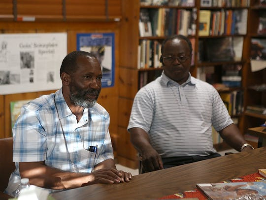 Murry Johnson (left) and Elder Jackie Allen, former Blackshear High School students, take part in the Dunbar Library's Living History Round Table Discussion for ex-students of the Blackshear July 2, 2018.
