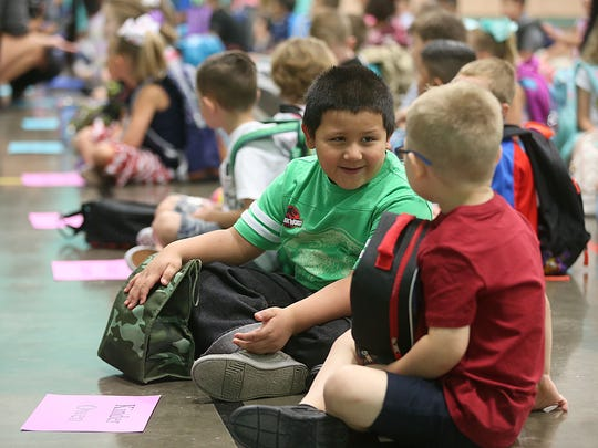Kindergarteners gather inside the gym at Lamar Elementary on the first day back to school for San Angelo ISD on Wednesday, Aug. 22, 2018.