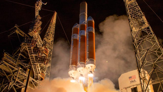 The United Launch Alliance Delta IV Heavy rocket launching NASA's Parker Solar Probe to touch the sun blasts off on Sunday from Launch Complex 37 at Cape Canaveral Air Force Station, Florida.