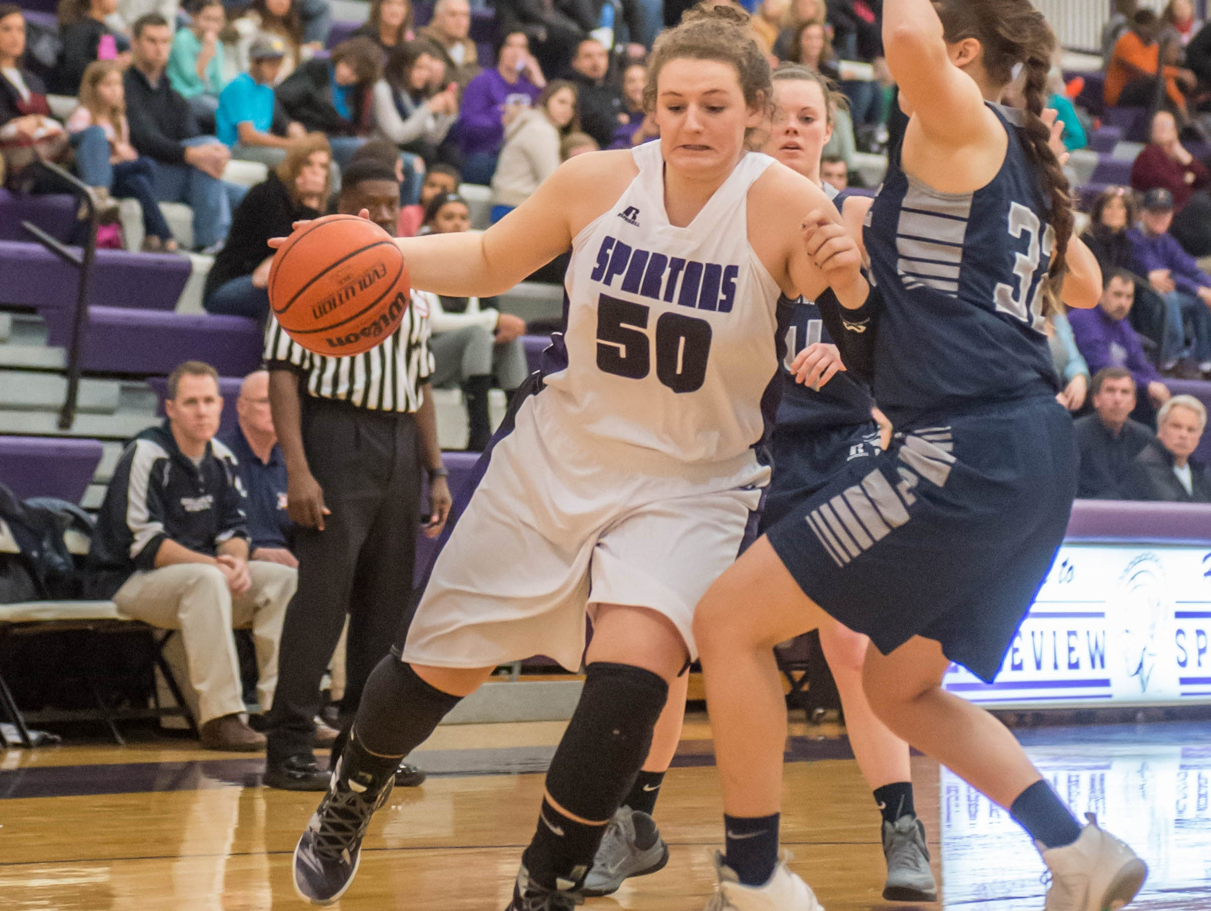Lakeview's Sunshine Johnson drives to the hoop against Gull Lake in Friday evening's game.