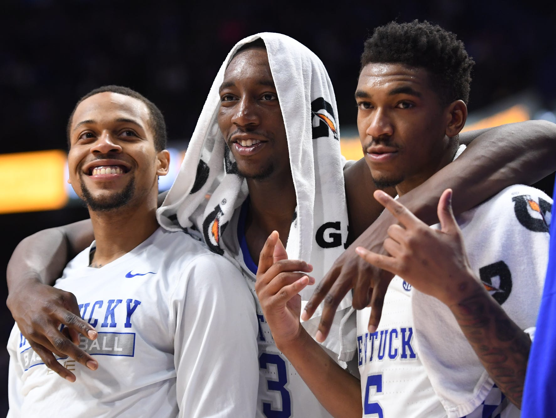 UK's Isaiah Briscoe, Bam Adebayo, and Malik Monk pose during the University of Kentucky basketball game against University of Tennessee at Rupp Arena in Lexington, KY on Tuesday, February 14, 2017.