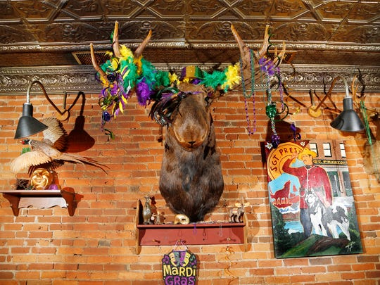 Moose, deer and other mounts are decorated for Mardi