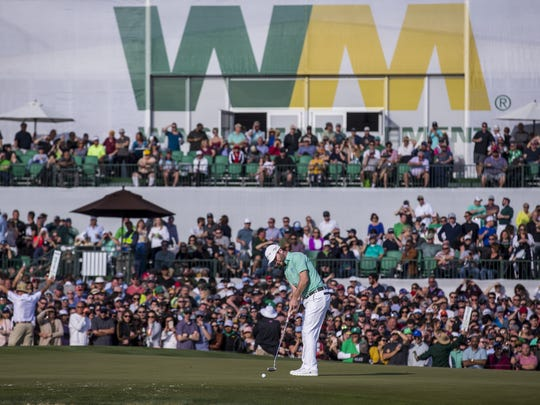 Branden Grace putts on the 18th hole during Round 3 of the Waste Management Phoenix Open on Saturday, Feb. 2, 2019, at TPC Scottsdale in Scottsdale, Ariz.