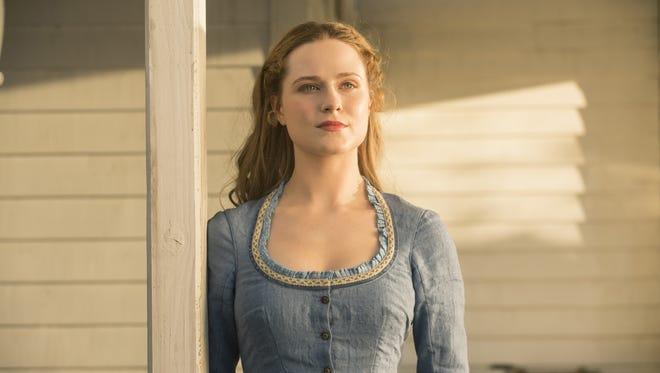 Evan Rachel Wood plays the human-like host, Dolores, in HBO's 'Westworld.'