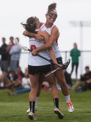 Lenape's Nicole Donnelly and Rena Carabases celebrate after a goal during Lenape win over West Windsor Plainsboro North in the South Jersey Group 4 Championship game.
