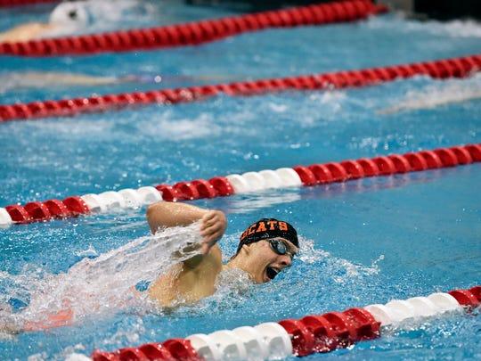 Northeastern's Drew Wilson swims the 500-yard freestyle