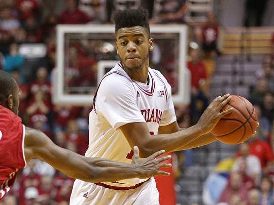 Indiana Hoosiers forward Juwan Morgan (13) looks for an open pass during second half action against Wisconsin at Assembly Hall, Bloomington, Ind., Tuesday, Jan. 3, 2017. The Hoosiers lost to Wisconsin, 68-75.