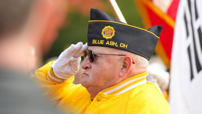 A Veterans' Day salute at the Blue Ash Memorial on Town Square.
