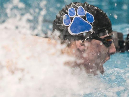 Dallastown's Jacob Stoner, swims in the Boys 100 Yard