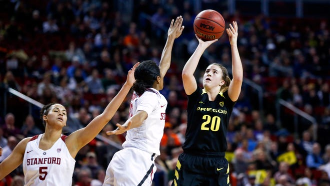 Mar 4, 2017; Seattle, WA, USA; Oregon Ducks guard Sabrina Ionescu (20) shoots against the Stanford Cardinal during the first half of the women's Pac-12 Conference Tournament at KeyArena.  Mandatory Credit: Joe Nicholson-USA TODAY Sports