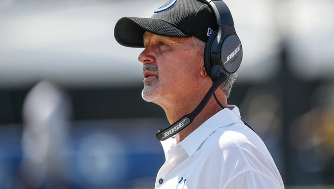Indianapolis Colts head coach Chuck Pagano looks up at the scoreboard against the Los Angeles Rams in the second quarter at Los Angeles Memorial Coliseum in Los Angeles on Sunday, Sept. 10, 2017.