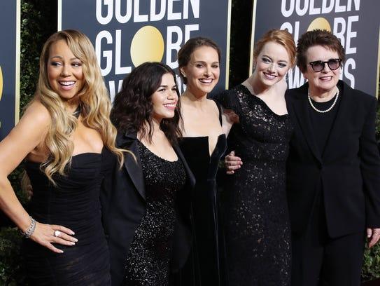 All in black: Mariah Carey, America Ferrera, Natalie