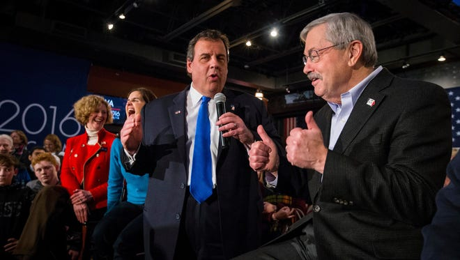 Republican presidential candidate, New Jersey Gov. Chris Christie holds a rally at Wellman's Pub & Rooftop in West Des Moines, IA, Sunday Jan 31, 2016, with Iowa Gov. Terry Branstad.