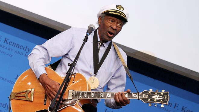 Chuck Berry performs during the 2012 Awards for Lyrics of Literary Excellence at The John F. Kennedy Presidential Library And Museum on Feb. 26, 2012 in Boston.