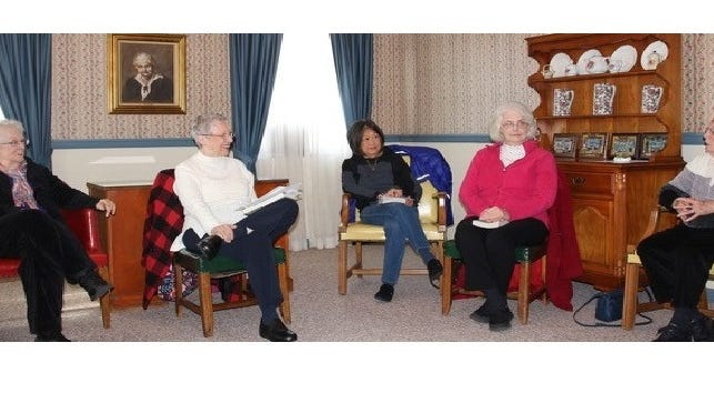 "(From left) Shirley Garth, discussion leader Linda Vanaman, Misono Miller, Diann Ewan and Helen Vanaman attended the Millville Woman's Club's book discussion of ""A Man Called Ove."""