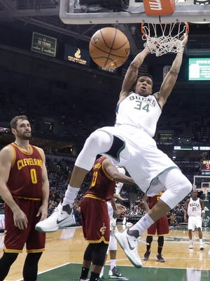 Milwaukee Bucks forward Giannis Antetokounmpo had 34 points, 12 rebounds, five assists and five steals in a win Tuesday night over the Cleveland Cavaliers at the BMO Harris Bradley Center.