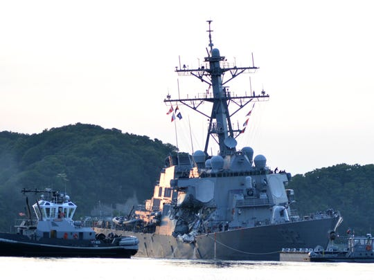 The USS Fitzgerald returns to its base in Yokosuka, Japan after colliding with merchant vessel in June 2017 (U.S. Navy photo by Mass Communication Specialist 1st Class Peter Burghart/Released)