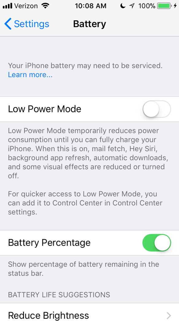 A screen shot from an iPhone 6S Settings menu suggesting