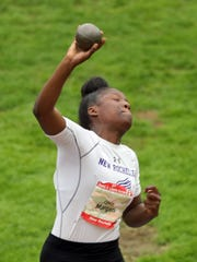 Olivia Morgan of New Rochelle competes in the pentathlon shot put during the 51st Annual Glenn D. Loucks Games at White Plains High School May 12, 2018.