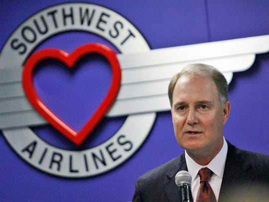 Southwest Airlines CEO Gary Kelly speaks at the annual