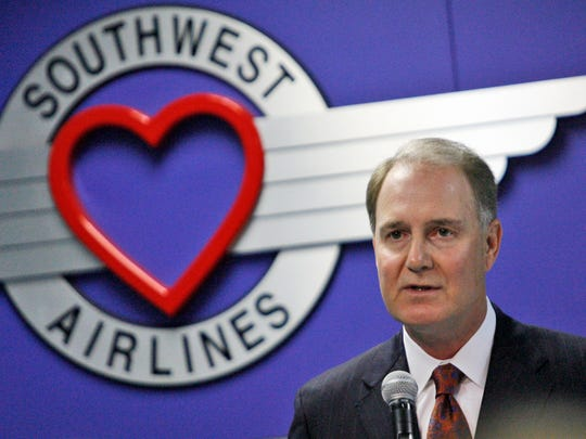 Southwest Airlines CEO Gary Kelly speaks at the annual shareholders meeting in Dallas on May. 20, 2009.