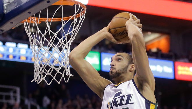 For the first time in his NBA career, Utah Jazz center Rudy Gobert (27) was named to the 2016-17 NBA All-Defensive First Team on Monday.
